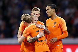 (L-R) Frenkie de Jong of Holland, Wesley Sneijder of Holland, Matthijs de Ligt of Holland, Virgil van Dijk of Holland during the International friendly match match between The Netherlands and Peru at the Johan Cruijff Arena on September 06, 2018 in Amsterdam, The Netherlands