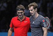 Switzerland's Roger Federer and Great Britain's Andy Murray  during the Roger Federer vs Andy Murray match at the Barclays ATP World Tour Finals, O2 Arena, London, United Kingdom on 13th November 2014 © Phil Duncan | Pro Sports Images