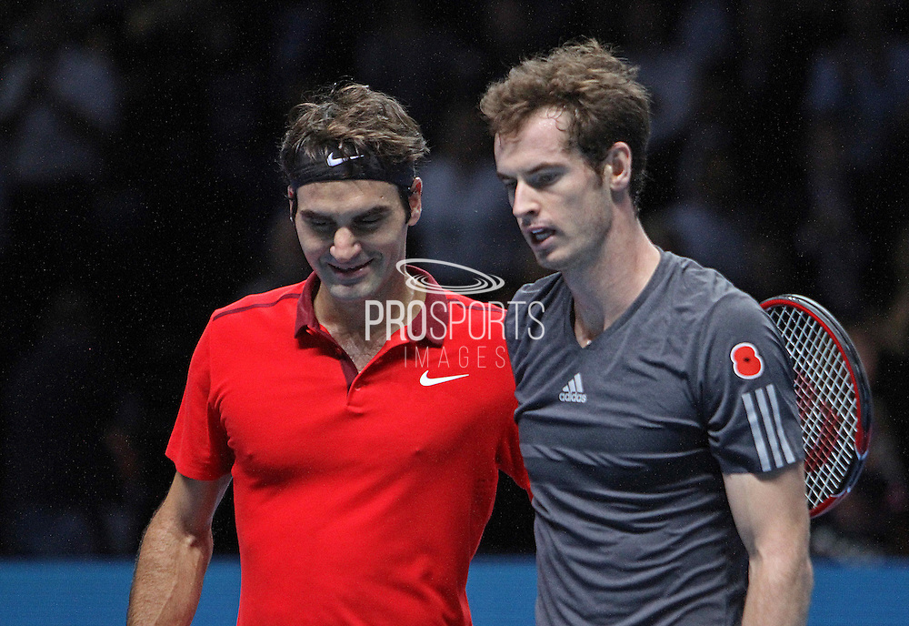 Switzerland's Roger Federer and Great Britain's Andy Murray  during the Roger Federer vs Andy Murray match at the Barclays ATP World Tour Finals, O2 Arena, London, United Kingdom on 13th November 2014 © Phil Duncan   Pro Sports Images