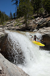 """Kayaker on Silver Creek 11"" - This kayaker was photographed on Silver Creek - South Fork, near Icehouse Reservoir, CA."