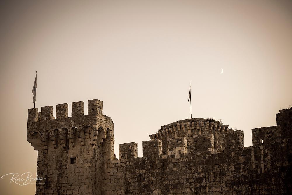Moonrise over Kamerlengo Castle, Trogir, Dalmatian Coast, Croatia
