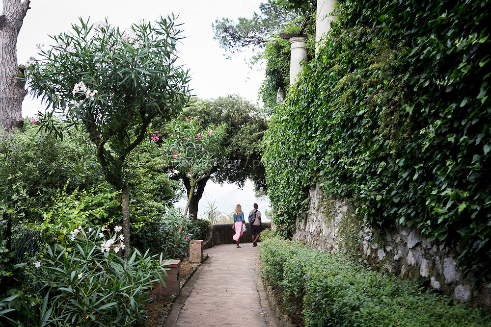 ANACAPRI, ITALY - 22 JULY 2014: Tourists walk inside Villa San Michele in Anacapri, a small comune on the island of Capri, Italy, on July 22nd 2014.<br /> <br /> New York City Mayor Bill de Blasio arrived in Italy with his family Sunday morning for an 8-day summer vacation that includes meetings with government officials and sightseeing in his ancestral homeland.