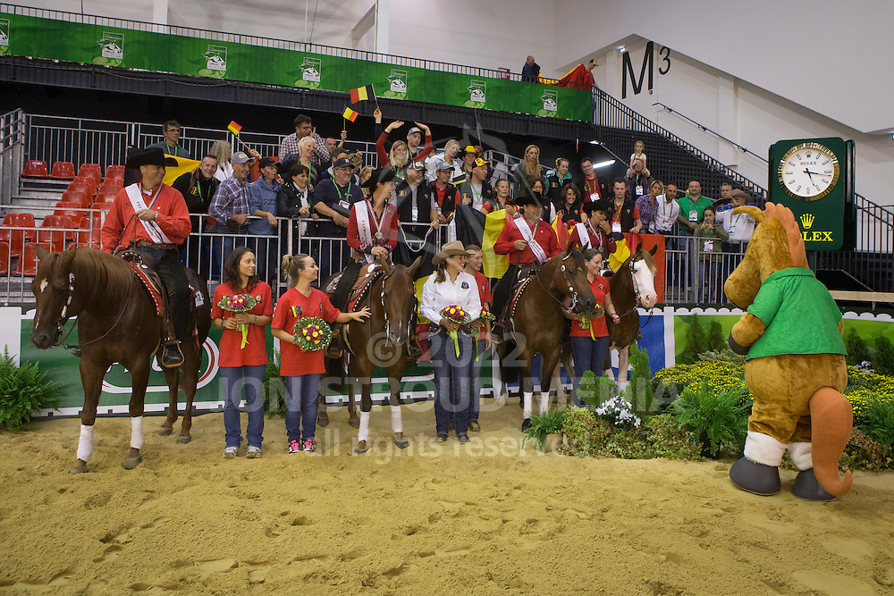 Team BEL, Piet Mestdagh, Ann Poels, Cira Baeck, Bernard Fonck with their supporters - Team Competition and 1st individual qualifying  - Alltech FEI World Equestrian Games&trade; 2014 - Normandy, France.<br /> &copy; Hippo Foto Team - Dirk Caremans<br /> 25/06/14