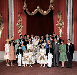 The official group photo at the wedding of the Prince and Princess of Wales.