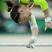 Kui Bui of Germany performed on the uneven bars apparatus in the women's gymnastics team final at the 2016 Summer Olympics Games in Rio de Janeiro, Brazil.