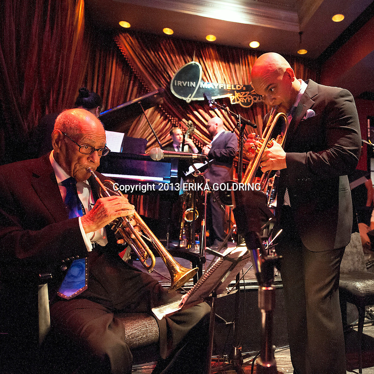 Lionel Ferbos and Irvin Mayfield perform at Irvin Mayfield's Jazz Playhouse on August 24, 2013, in New Orleans, LA.