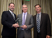 Dundee FC directors John Nelms and Tim Keyes with Bobby Geddes as the former goalkeeper is inducted into Dundee FC Hall of Fame 2016 - at the Invercarse Hotel<br /> <br />  - &copy; David Young - www.davidyoungphoto.co.uk - email: davidyoungphoto@gmail.com