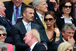 David and Victoria Beckham in the Royal Box during day thirteen of the 2012 Wimbledon Championships at the All England Lawn Tennis Club, Wimbledon.