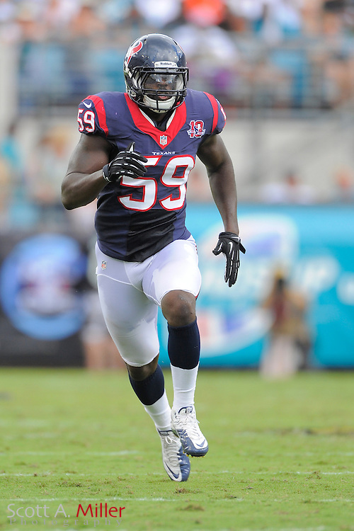 Houston Texans linebacker Whitney Mercilus (59) during the NFL game between the Texans and the Jacksonville Jaguars, at EverBank Field on September 16, 2012 in Jacksonville, Florida. The Texans won 27-7...©2012 Scott A. Miller.