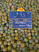 Greengages, Reine Claudes, on sale in a  food market in Ars en Ré, France