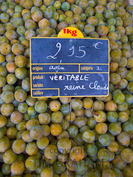 Greengages, Reine Claudes, on sale in a  food market in Ars en Ré, France