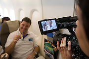 Airbus A380 first commercial flight - Singapore Airlines SQ 380 Singapore-Sydney on October 25, 2007. Al-Jazeera TV filming Economy Class passenger.