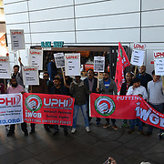Uber driver strike! demand a minimun wages outside Uber offices, Aldgate Tower, London, UK. 9 October 2018.