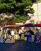 """Rennes, FRANCE.   Saturday Morning Market, """"General View of themarket stalls,, Market located. Marché des Lices Town hall square. Rennes Old quarter, Brittany.<br /> <br /> Saturday  26/09/2009<br /> <br /> © Peter SPURRIER<br /> NIKON - COOLPIX P6000 - 1/200 - f4.5  8.3MB MB"""