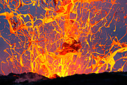WINNER<br /> 2014 Art in Nature<br /> Windland Smith Rice International Awards<br /> A wild, airborne abstract created by an exploding lava bubble. Waves of thermal distortion in the lower half of the frame is an indication of the amount of intense heat being released.