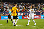 CHICAGO, IL - AUGUST 02: Real Madrid defender Marcelo (12) celebrates and shakes hands with MLS All-Star and Seattle Sounders Goalkeeper Stefan Frei (24) after scoring the game winning goal during penalty kicks against the MLS All-Stars during a soccer match on August 2, 2017, at Soldier Field, in Chicago, IL. The game ended in a 1-1 tie with Real Madrid winning on penalty kicks 4-2. (Photo by Patrick Gorski/Icon Sportswire)