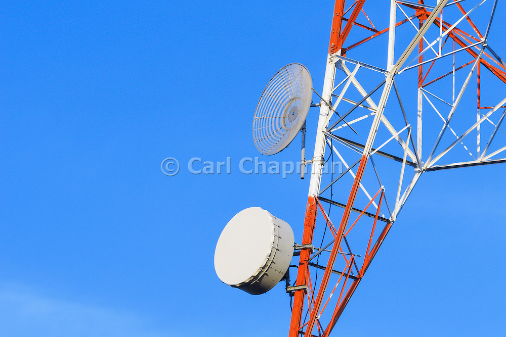 Microwave dish antenna on television broadcast transmission lattice tower