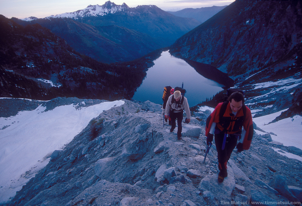 Climbing the Colchuck Glacier Moraine while approaching Dragontail Peak.
