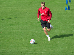 LLANELLI, WALES - Tuesday, August 14, 2012: Wales' Chris Gunter during a training session at Parc y Scarlets ahead of the international friendly match against Bosnia-Herzegovina. (Pic by David Rawcliffe/Propaganda)