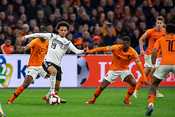 24-03-2019 NED: UEFA Euro 2020 qualification Netherlands - Germany, Amsterdam<br /> Netherlands lost the match 3-2 in the last minute / Denzel Dumfries #22 of The Netherlands, Leroy Sane #19 of Germany, Matthijs de Ligt #3 of The Netherlands