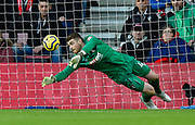 Mark Travers (42) of AFC Bournemouth makes a save during the Premier League match between Bournemouth and Watford at the Vitality Stadium, Bournemouth, England on 12 January 2020.