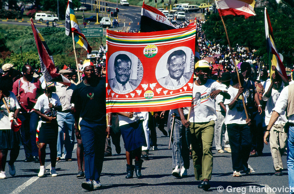 Inkatha Freedom Party march through Empangeni, Zululand, KwaZulu Natal South Africa