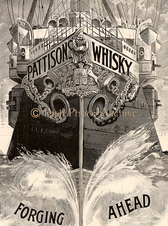 Advertisement for Pattison's Scotch Whisky. From 'The Graphic', London, 1898. Engraving.