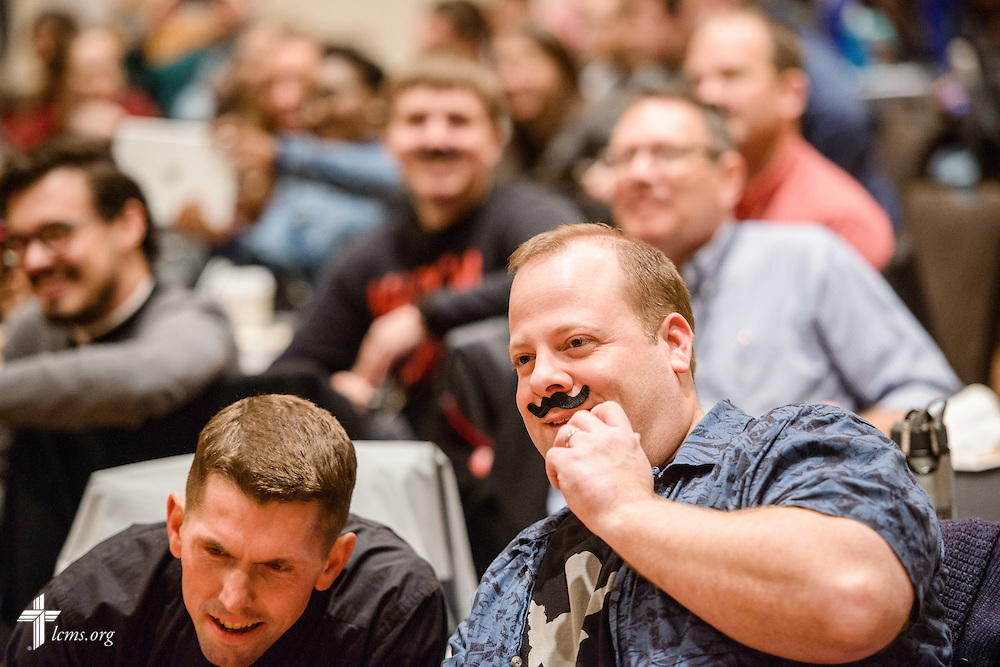 """Attendees watch """"the Great Mustache Shave Off"""" during the Liberty National LCMS Campus Ministry Conference on Wednesday, Jan. 4, 2017, at the University of Maryland in College Park, Md. LCMS Communications/Erik M. Lunsford"""