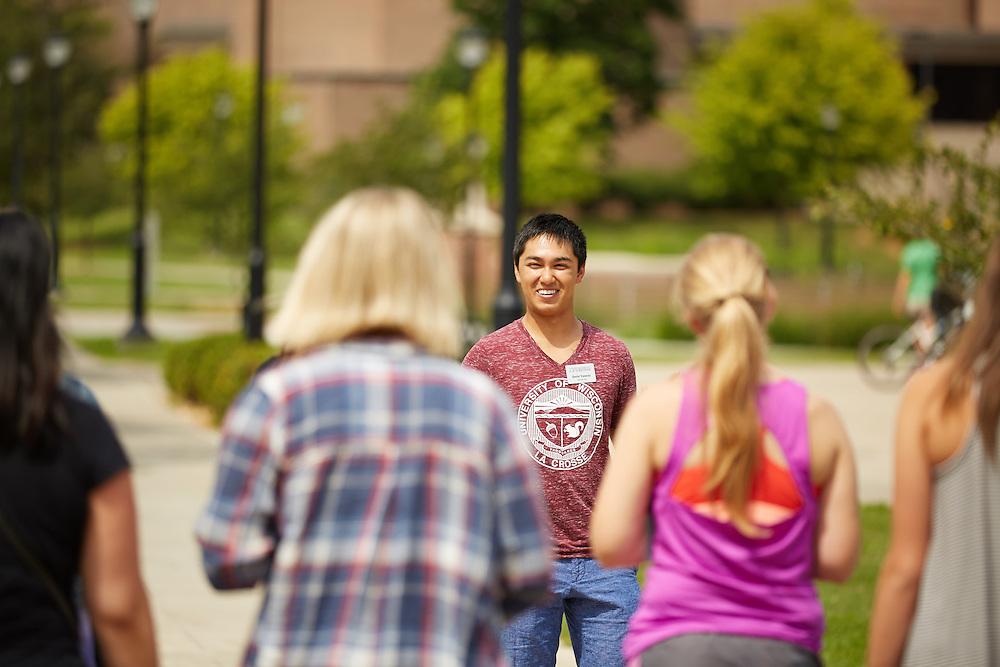 Activity; Talking; Walking; Location; Outside; People; Vanguards; Summer; July; Time/Weather; day; sunny; Type of Photography; Candid; UWL UW-L UW-La Crosse University of Wisconsin-La Crosse; Vanguard Campus Tour