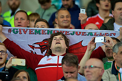 """CARDIFF, WALES - Monday, October 9, 2017: A Wales supporter holds a flag with """"give me hope Joe Allen"""" as he sings the national anthem before the 2018 FIFA World Cup Qualifying Group D match between Wales and Republic of Ireland at the Cardiff City Stadium. (Pic by Paul Greenwood/Propaganda)"""