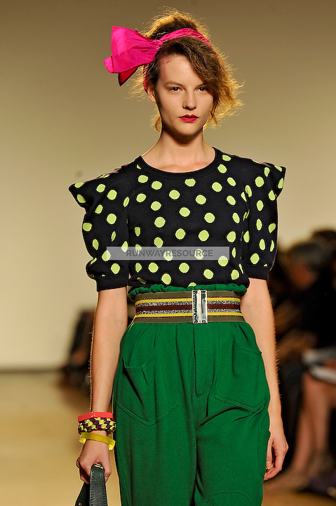 Sara Blomqvist walks the runway wearing Marc by Marc Jacobs Spring 2010 collection during New York Mercedes-Benz fashion week on September 15, 2009.