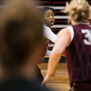 December 16, 2016 - New York, NY : Danielle Burns, a senior guard/forward for the Fordham University Women's Basketball Team, center, practices with the team in Rose Hill Gymnasium on Friday. CREDIT: Karsten Moran for The New York Times