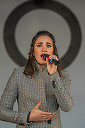 Laura Wright sings on the Live On stage - Silence in the Square oraganised by the British Legion in Trafalgar Square  - 11 November 2016, London.