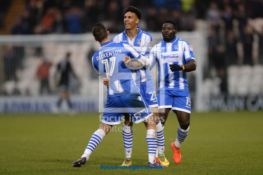 Kurtis Guthrie of Colchester United (middle) celebrates scoring his sides second goal to make the scoreline 2-1 during the Sky Bet League 2 match between Colchester United and Carlisle United at the Weston Homes Community Stadium, Colchester<br /> Picture by Richard Blaxall/Focus Images Ltd +44 7853 364624<br /> 07/01/2017