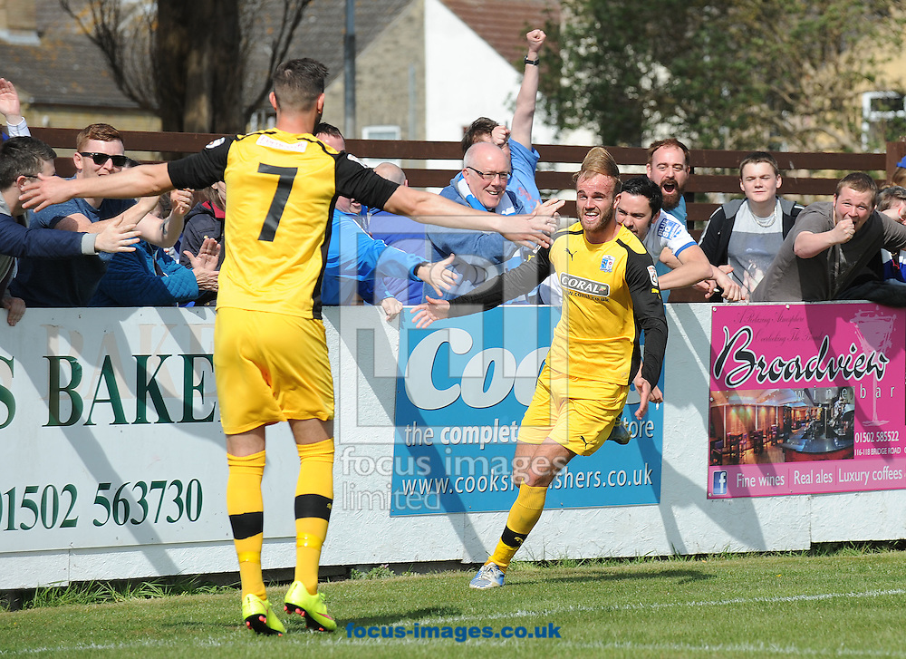 Niall Copperthwaite of Barrow celebrates scoring the second goal during the Conference North match at Crown Meadow, Lowestoft<br /> Picture by Rob Howarth/Focus Images Ltd 07768 285551<br /> 25/04/2015<br /> 25/04/2015