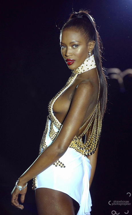 British supermodel Naomi Campbell wears Julien Macdonald