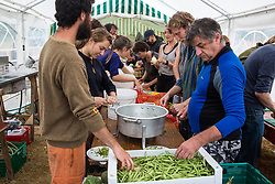Roydon, Essex, UK. 27 July, 2019. Volunteers prepare food at Reclaim The Power's Power Beyond Borders mass action camp.