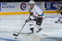 KELOWNA, CANADA - JANUARY 23: Dillon Dube #19 of Kelowna Rockets skates with the puck against the Medicine Hat Tigers on January 23, 2016 at Prospera Place in Kelowna, British Columbia, Canada.  (Photo by Marissa Baecker/Shoot the Breeze)  *** Local Caption *** Dillon Dube;