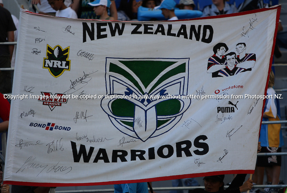 Warriors Supporters Banner during round 7 of the NRL - Gold Coast Titans v New Zealand Warriors. Played at Skilled Stadium, Robina QLD. Titans (36) defeated the Warriors (24).  Photo: Warren Keir (Photosport NZ).<br /> <br /> Use information: This image is intended for Editorial use only (e.g. news or commentary, print or electronic). Any commercial or promotional use requires additional clearance.