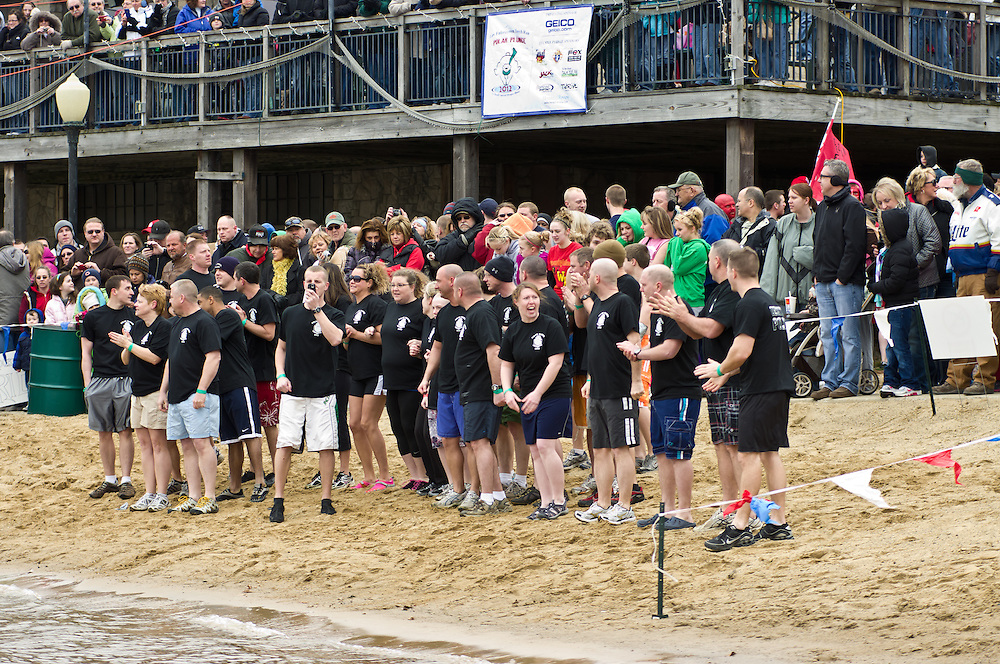 Polar Plunge held on Lake Decatur in Decatur, Illinois