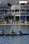 Boston, USA, Collegiate Women's Eights, pass, Cambridge Boathouse, at the Head of the Charles Race, Charles River, Cambridge,  Massachusetts. Saturday  21/10/2007 [Mandatory Credit Peter Spurrier/Intersport Images]..... , Rowing Course; Charles River. Boston. USA Cambridge Boat House
