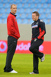 REYKJAVIK, ICELAND - Wednesday, May 28, 2008: Wales' Steve Evans and Craig Bellamy before the international friendly match against Iceland at the Laugardalsvollur Stadium. (Photo by David Rawcliffe/Propaganda)