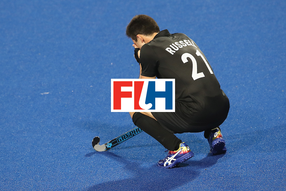 RIO DE JANEIRO, BRAZIL - AUGUST 07:   Kane Russell of New Zealand looks dejected after playing out a 2-2 draw during the men's pool A match between Great Britain and New Zealand on Day 2 of the Rio 2016 Olympic Games at the Olympic Hockey Centre on August 7, 2016 in Rio de Janeiro, Brazil.  (Photo by Mark Kolbe/Getty Images)