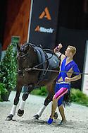Erik Oese, (GER), Calvador 5, Andreas Babler - Individuals Mens Technical Vaulting - Alltech FEI World Equestrian Games™ 2014 - Normandy, France.<br /> © Hippo Foto Team - Jon Stroud<br /> 04/09/2014
