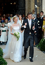 Image ©Licensed to i-Images Picture Agency. 05/07/2014. Rome, Italy.  Prince Amedeo of Belgium and Princess Elisabetta Maria celebrate after their wedding ceremony at Basilica Santa Maria in Trastevere. Picture by  Schneider-Press / i-Images<br /> UK&USA ONLY
