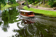 Old wooden canal boat, Riga, Latvia
