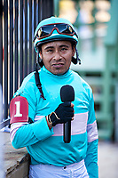 HOT SPRINGS, AR - MAY 02:  Jockey Martin Garcia is interviewed after riding favorite #1 Charlatan to the win after the 84th running of The Arkansas Derby Grade 1 at Oaklawn Racing Casino Resort on Derby Day during the Covid-19 Pandemic on May 2, 2020 in Hot Springs, Arkansas. (Photo by Wesley Hitt/Getty Images)
