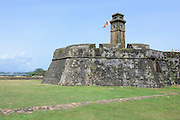 The Galle Fort. Ramparts, Bastion and clock tower at the UNESCO World Heritage Site.