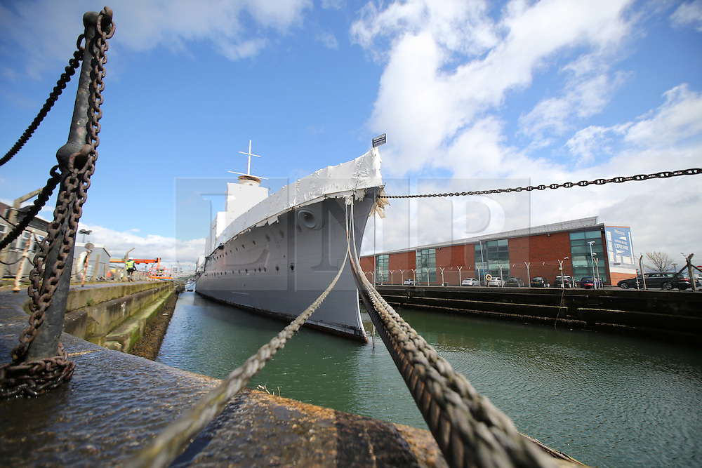 Photo/Paul McErlane© Licensed to London News Pictures. 28/04/2016. Belfast County Antrim, Northern Ireland, UK. HMS Caroline's restoration is the biggest World War One project of the century. Funded by Heritage Lottery Fund and supported by DETI, the Portsmouth-based National Museum of the Royal Navy undertook the restoration project three years ago. It will be completed in time for the centenary of the Battle of Jutland on May 31 2016. Photo credit : Paul McErlane/LNP