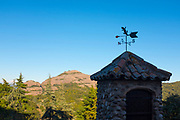 Lizard weather vane and view of Montcau